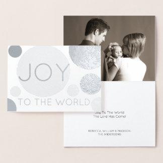Los lunares modernos de la alegría de plata del tarjeta con relieve metalizado