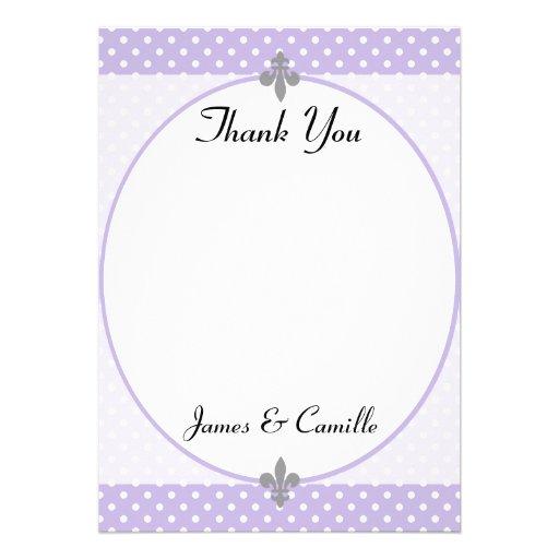 Los lunares violetas populares le agradecen cardar invitaciones personales