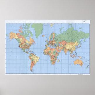 Los mapas del mundo, el poster impreso 23x36 del m póster