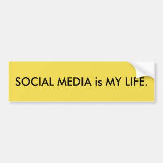 Los MEDIOS SOCIALES son MI VIDA. Pegatina para el