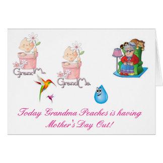 Los melocotones de la abuela tienen día de madres tarjeta de felicitación