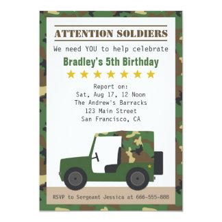 Los militares camuflan cumpleaños del muchacho del invitación 12,7 x 17,8 cm