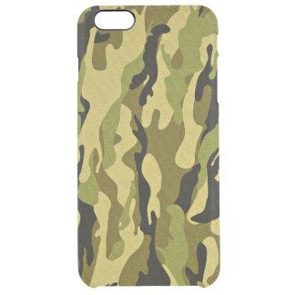 los militares camuflan texturas verdes funda clearly™ deflector para iPhone 6 plus de unc