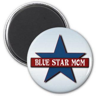 Los militares de la mamá de la estrella azul imán redondo 5 cm