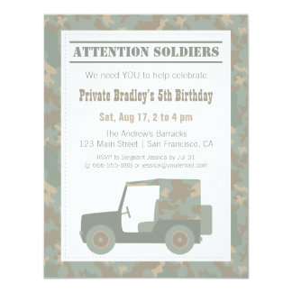 Los militares del camuflaje imprimen a la fiesta invitación 10,8 x 13,9 cm