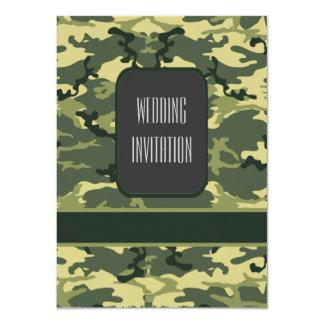 Los militares verdes camuflan el boda invitación 11,4 x 15,8 cm