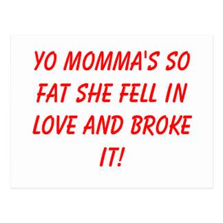 ¡Los momma de Yo tan gordos ella cayó en amor y lo Tarjetas Postales