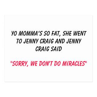 Los momma de Yo tan gordos, ella fue a Jenny Craig Tarjeta Postal