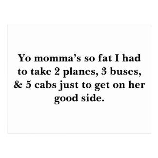 Los momma de Yo tan gordos tuve que tomar 2 avione Postales