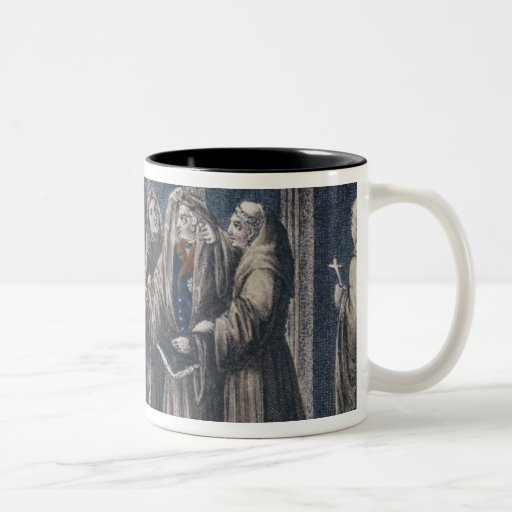 Los monjes que cubren al rey con cubren el convent taza