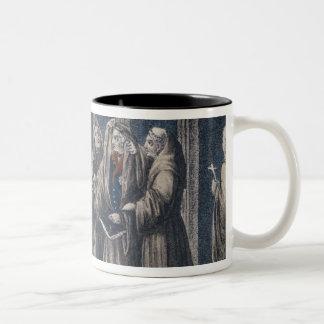 Los monjes que cubren al rey con cubren el taza de dos tonos