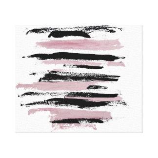 Los movimientos rosados y negros abstractos impresión en lienzo