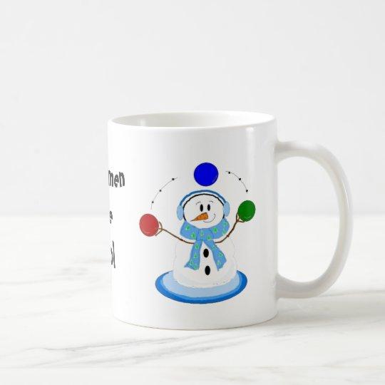 Los muñecos de nieve que hacen juegos malabares taza de café