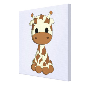Los niños lindos del dibujo animado de la jirafa impresión en lienzo