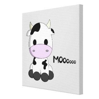 Los niños lindos del dibujo animado de la vaca del impresión en lienzo