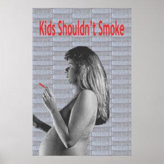 Los niños no deben fumar póster