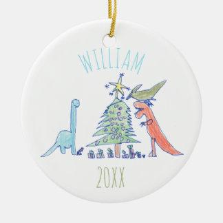 Los niños personalizaron navidad del día de fiesta adorno navideño redondo de cerámica
