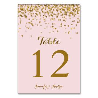 Los números de la tabla del boda del confeti del