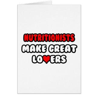 Los nutricionistas hacen a grandes amantes tarjetas