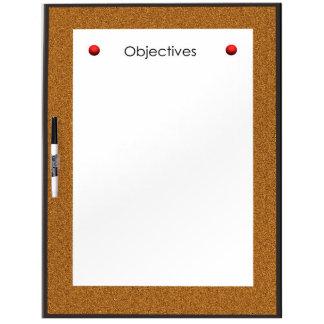 Los objetivos secan al tablero del borrado pizarra blanca
