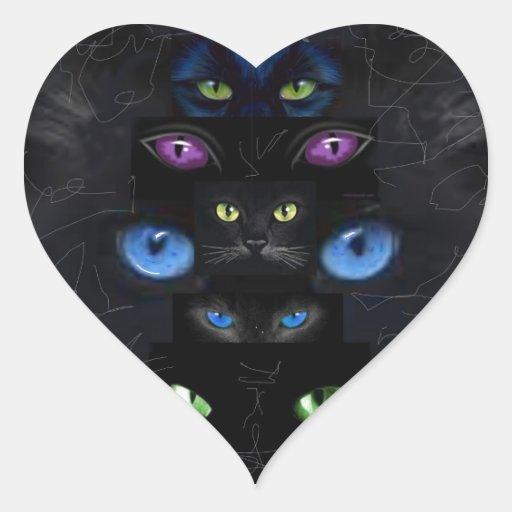 Los ojos de gato calcomanía de corazón personalizadas
