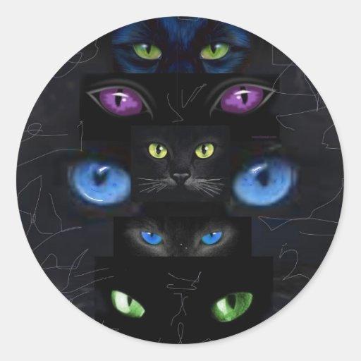 Los ojos de gato pegatina redonda