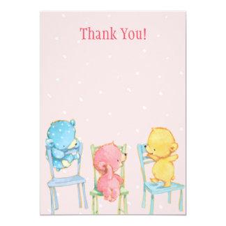 Los osos amarillos, rosados, y azules le agradecen invitación 12,7 x 17,8 cm