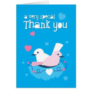 ¡los pájaros azules lindos aman muy especial le ag tarjeta de felicitación