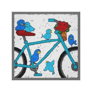 Los pájaros de la bici envolvieron la lona pring lona envuelta para galerias