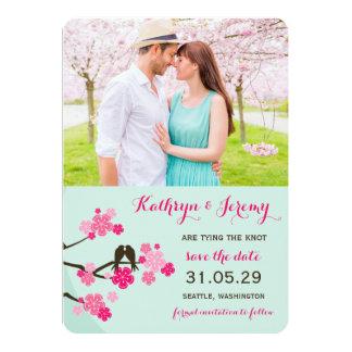 Los pájaros del amor de Sakura de las flores de Invitación 12,7 X 17,8 Cm