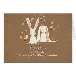 los pares de los conejos de conejito lindos le tarjeta pequeña