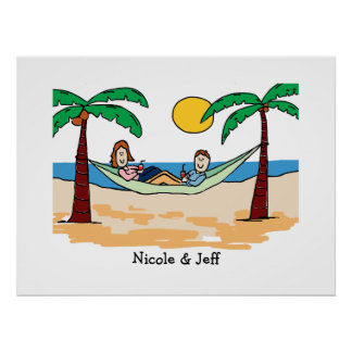 Los pares el vacaciones personalizaron la póster