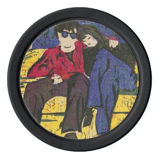 Los pares en grabar en madera del amor imprimen fichas de póquer
