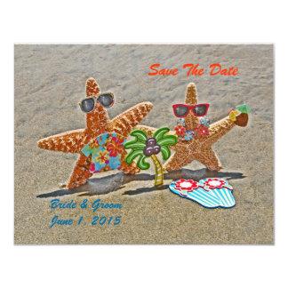 Los pares hawaianos de las estrellas de mar invitación 10,8 x 13,9 cm