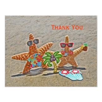 Los pares hawaianos de las estrellas de mar le invitación 10,8 x 13,9 cm