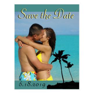 Los pares hawaianos del boda ahorran la foto de la postal