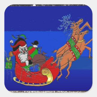 Los pegatinas cuadrados con Santa en su trineo Pegatina Cuadrada