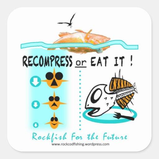 Los pegatinas de la pesca de la escorpina, Recompr Pegatina Cuadradas Personalizada