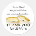 Los pegatinas del favor del boda le agradecen pegatinas redondas