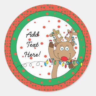 Los pegatinas redondos Rudolph del navidad Pegatina Redonda