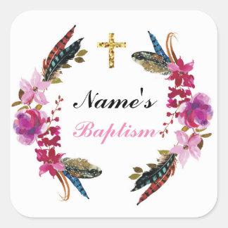 Los pegatinas religiosos del nombre del bautismo pegatina cuadrada