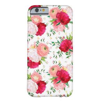 Los peonies rojos y blancos de Borgoña, ranúnculo, Funda Barely There iPhone 6