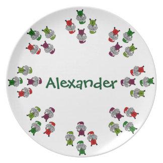 Los perros del navidad personalizaron la placa de plato de comida
