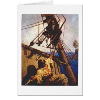 Los piratas luchan a bordo de la nave tarjeta de felicitación