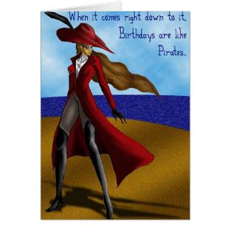 Los piratas son como cumpleaños… tarjeta de felicitación