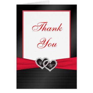 Los plisados rojos y negros del satén le agradecen tarjeta de felicitación