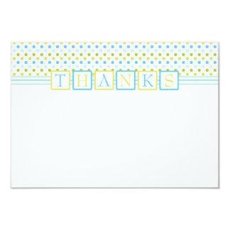Los polkadots azulverdes le agradecen tarjeta invitación 8,9 x 12,7 cm