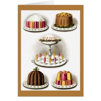 Los postres y la repostería y pastelería del tarjeta pequeña
