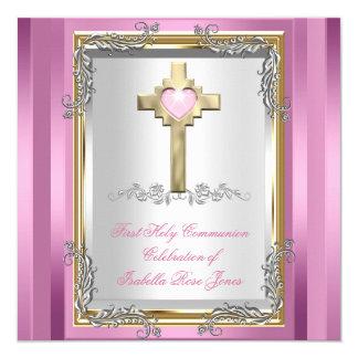Los primeros 1ros chicas de la comunión santa invitación 13,3 cm x 13,3cm