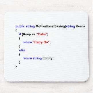 Los programadores mantienen tranquilo y continúan  alfombrilla de ratón